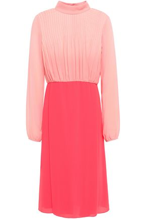 MIKAEL AGHAL Pintucked georgette and crepe dress
