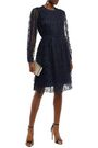 MIKAEL AGHAL Belted pleated lace dress