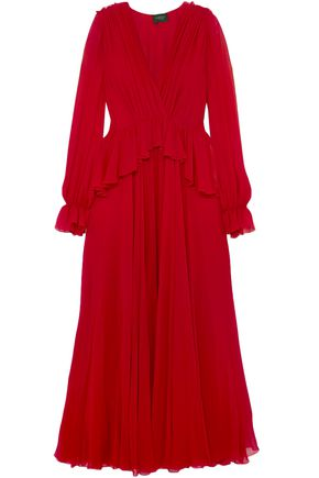 GIAMBATTISTA VALLI Wrap-effect gathered silk-chiffon peplum gown