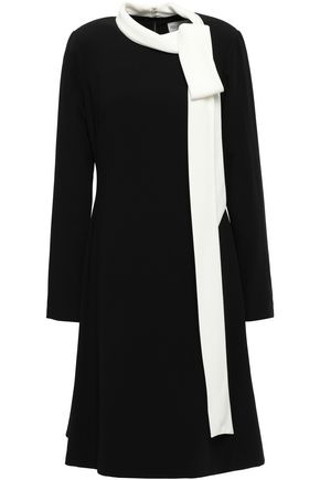 MIKAEL AGHAL Tie-neck stretch-crepe dress