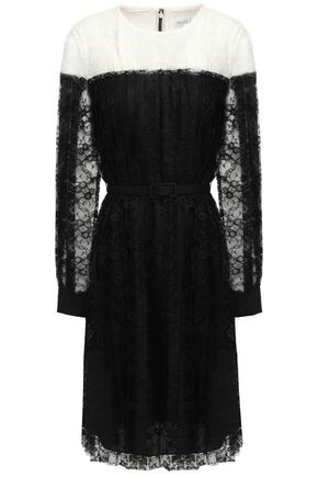 MIKAEL AGHAL Belted pleated two-tone lace dress