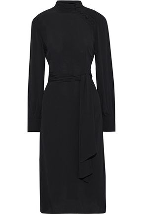 IRIS & INK Mabil belted button-detailed crepe dress