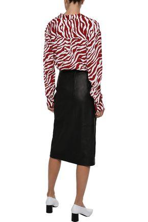 IRIS & INK Norell zebra-print washed-crepe shirt