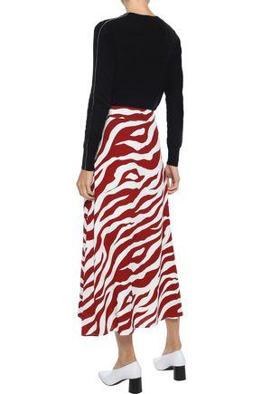 IRIS & INK Kirsi zebra-print crepe midi skirt