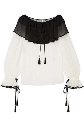 PHILOSOPHY di LORENZO SERAFINI Ruffle-trimmed lace and chiffon blouse