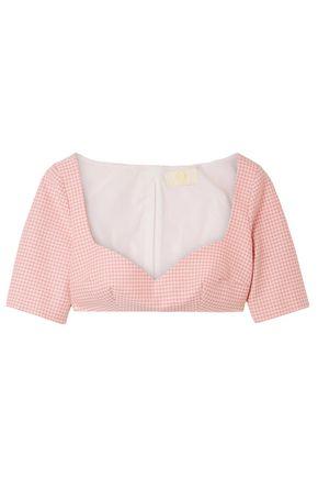 SARA BATTAGLIA Cropped gingham cotton-blend top