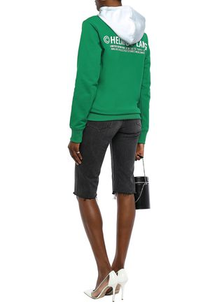 HELMUT LANG Taxi two-tone printed French cotton-terry hoodie