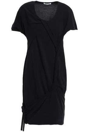 HELMUT LANG Knotted cotton-blend jersey mini dress