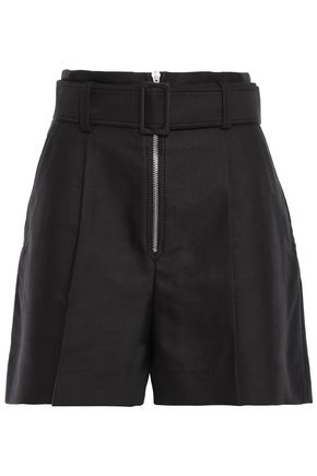SANDRO Belted cotton-blend twill shorts