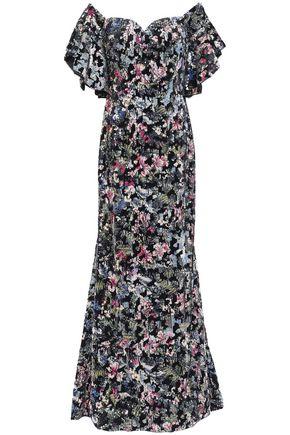 BADGLEY MISCHKA Off-the-shoulder sequined velvet gown