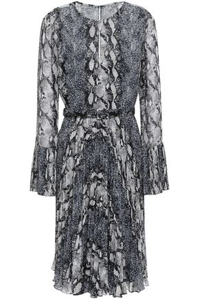 MIKAEL AGHAL Belted pleated snake-print georgette dress