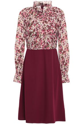 MIKAEL AGHAL Pleated floral-print georgette and twill dress
