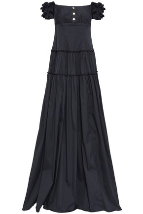 CAROLINE CONSTAS Off-the-shoulder cotton-blend poplin gown