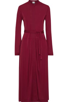 IRIS & INK Juni belted crepe midi dress