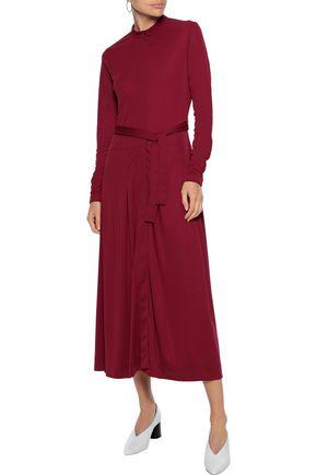 IRIS & INK Juni belted crepe midi dress