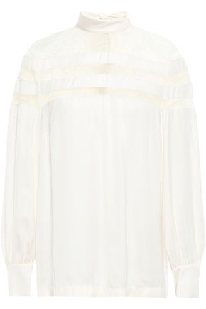 SANDRO Lace-paneled satin-crepe blouse