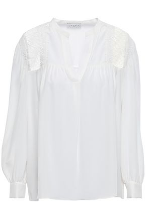 SANDRO Lace-trimmed washed-silk blouse