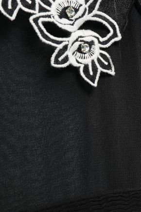 SANDRO Amaryllis embellished satin-crepe and georgette mini dress
