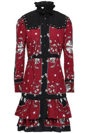 SANDRO Eyelet-embellished ruffled crepe de chine mini dress