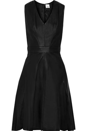 IRIS & INK Ursula flared leather dress
