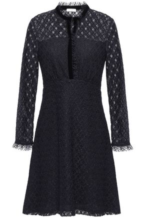 SANDRO Ruffle and velvet-trimmed lace mini dress