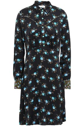 SANDRO Floral-print satin shirt dress