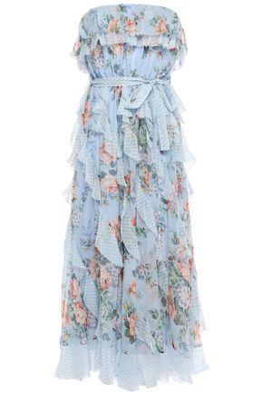 ZIMMERMANN Strapless ruffled silk-georgette midi dress