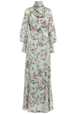 ZIMMERMANN Draped silk-satin maxi dress