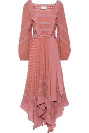 ZIMMERMANN Unbridled Hanky lace-trimmed fil coupé silk-chiffon midi dress