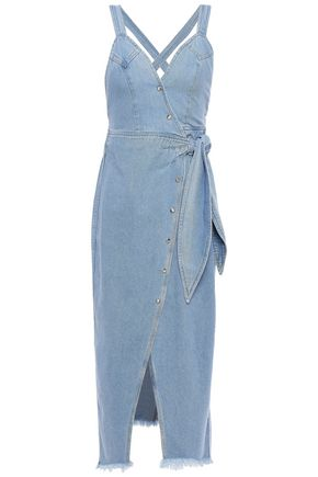 NANUSHKA Santal denim midi wrap dress