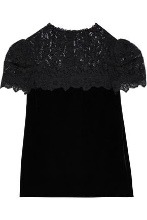 REBECCA TAYLOR Corded lace-paneled velvet blouse