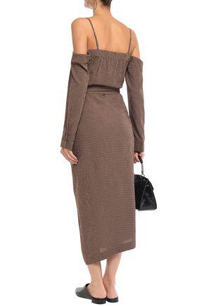 NANUSHKA Seora cold-shoulder gingham seersucker midi dress