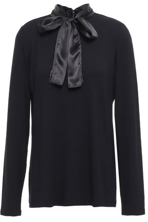 SANDRO Pussy-bow satin-trimmed stretch-jersey top