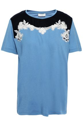 SANDRO Lace and velvet-trimmed cotton and modal-blend T-shirt