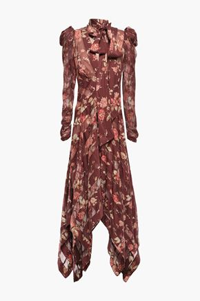 ZIMMERMANN Pussy-bow silk-blend georgette and twill midi dress
