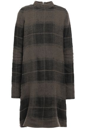 RICK OWENS Checked linen and camel-blend felt dress
