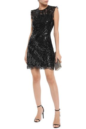 Sandro Woman Open-Back Embellished Tulle Mini Dress Black