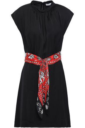 SANDRO Belted satin mini dress