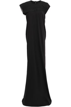 RICK OWENS Organza-trimmed embossed silk-blend jersey gown