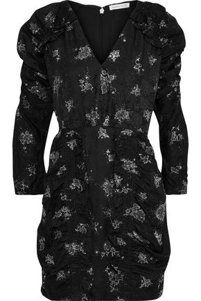 REBECCA TAYLOR Ruffle-trimmed glittered silk-jacquard mini dress
