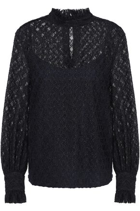 SANDRO Ruffle-trimmed lace top