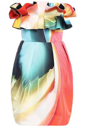MARY KATRANTZOU Strapless ruffled printed faille mini dress