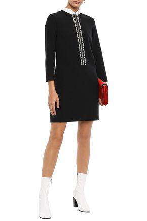 Sandro Woman Picot-Trimmed Cady Mini Dress Black