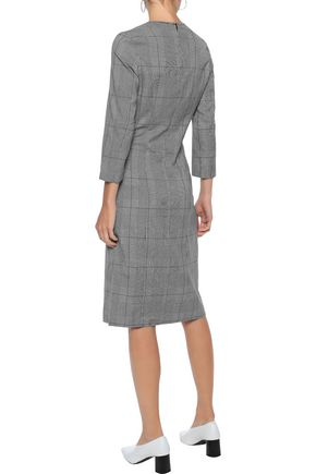 IRIS & INK Una button-detailed Prince of Wales checked jacquard dress