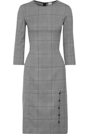 Una Button Detailed Prince Of Wales Checked Jacquard Dress by Iris & Ink