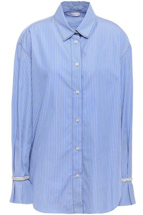 SANDRO Embellished cotton-poplin shirt