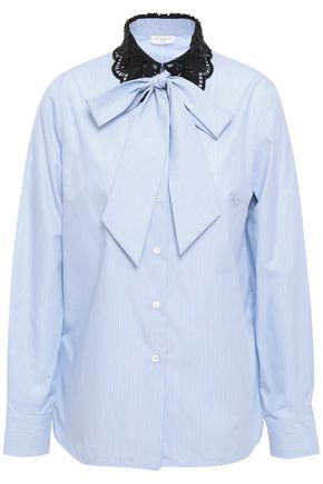 SANDRO Pussy-bow guipure lace-trimmed cotton-poplin shirt