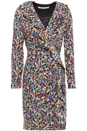 VERONICA BEARD Wrap-effect silk-blend satin-jacquard mini dress