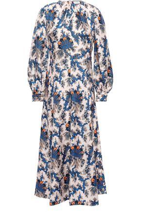 SANDRO Silk-twill midi dress