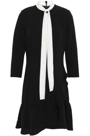 SANDRO Tie-neck fluted crepe mini dress